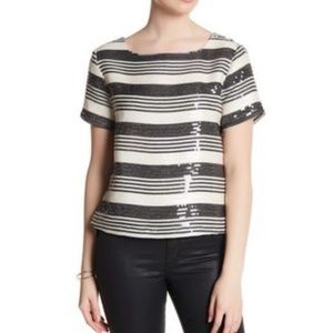 Cupcakes & Cashmere Sequin Striped Boxy Top